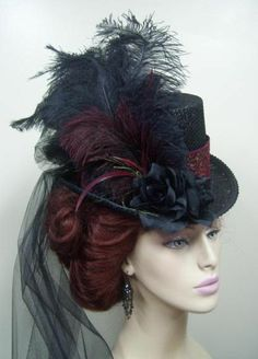Victorian Era Black & Burgundy Hat w/ train
