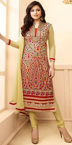 Madhubala Georgette Yellow And Multi-Color Straight Suit With Dupatta.