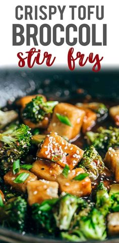 Crispy Tofu Broccoli Stir Fry made under 30 minutes using a hack to make the tofu crispy without deep frying! Serve with noodles/rice/quinoa.