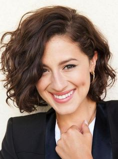 Medium Curly Bob Hairstyle - Bob haircut for women with curly hair.  Looks great for work or play especially with side part.