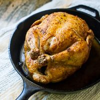 Crispy Skin Oven Roast Chicken in Cast Iron Skillet