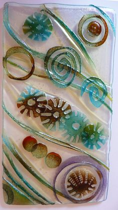 fused glass waffer sea scape by HMillington