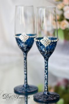 Navy & Silver lace/ Bride  groom wedding glass / wedding  flutes / Swarovski Crystal