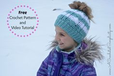 Visit for a free Cabled Messy Bun Hat crochet pattern. Sizes include toddler thru adult. A video tutorial is also included.
