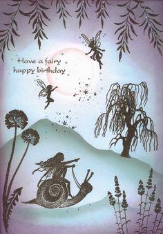 Snail and fairy birthday card £2.00