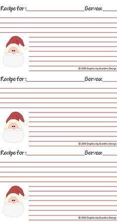Free printable recipe cards for Christmas http://www.grandmageorge.com/free/recipe/xmas01r.gif