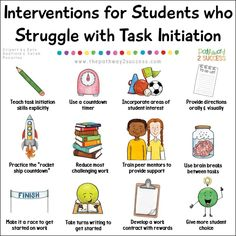 Executive functioning supports and interventions for kids and young adults who struggle with task initiation. These kids and teens might struggle to get started and appear as avoiding work when they actually lack the skills. Classroom Behavior, Special Education Classroom, Classroom Management, Primary Education, Special Education Quotes, Education Galaxy, Texas Education, Education Jobs, Higher Education