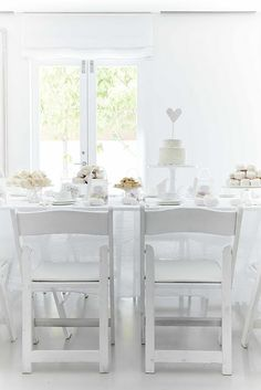Minimalist heart white tea party