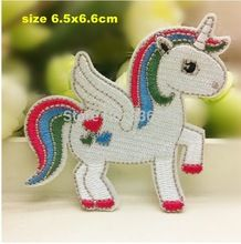 frete grátis-- diy patches bordados com cola, tamanho: cm, 7*6.5 ferro- em etiquetas afixada crachá pano, unicórnio, cavalo branco(China (Mainland))