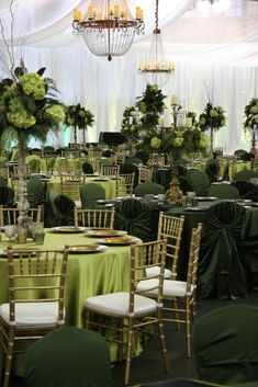 Corporate Holiday Party at The Depot in Minneapolis, MN; green and gold decor