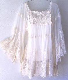 Ivory Crochet Lace Vintage Peasant Blouse Boho Shirt Top by Mary Lynn Trujillo
