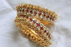 Bracelets for Women – Fine Sea Glass Jewelry Kundan Bangles, Bridal Bangles, Bridal Bracelet, Bridal Jewelry, Gold Jewellery, Temple Jewellery, Indian Wedding Jewelry, Indian Jewelry, Silver Bracelets