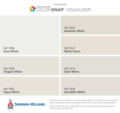 I found these colors with ColorSnap® Visualizer for iPhone by Sherwin-Williams: Extra White (SW 7006), Origami White (SW 7636), Toque White (SW 7003), Aesthetic White (SW 7035), White Heron (SW 7627), Eider White (SW 7014), Incredible White (SW 7028).
