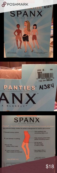 """ORIGINAL SPANX SIZE G NEW IN PACKAGE  COLOR BARE NEW IN THE PACKAGE , THE ORIGINAL SPANX BY SARA BLAKELY . SIZE G , COLOR IS """" BARE """" THERE IS SLIGHT WEAR TO THE PACKAGE FROM BEING IN MY DRAW. I ENLARGED THE SIZE CHART SO YOU CAN SEE IF THESE ARE RIGHT FOR YOU. NON SMOKING HOME. ORIGINAL PRICE WAS $30. PLEASE ASK ANY QUESTIONS YOU MAY HAVE.. THANK YOU FOR LOOKING.... SPANX Intimates & Sleepwear Shapewear"""