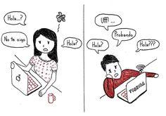 Dibujo de las relaciones a larga distancia. Hablando por skype