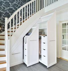 Staircase Storage, Stair Storage, Small Closet Storage, Home Stairs Design, Home Interior Design, Interior Architecture, Under Stairs Nook, Basement Master Bedroom, House Stairs