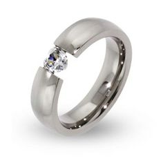 Sterling Silver Jewelry - Floating CZ Heart Stainless Steel Ring