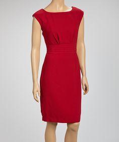 This Joy Mark Wine Pleated Cap-Sleeve Dress by Joy Mark is perfect! #zulilyfinds