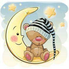 Illustration of Cute Cartoon Teddy Bear is sleeping on the moon vector art, clipart and stock vectors. Teddy Bear Cartoon, Cute Teddy Bears, Cute Cartoon, Bear Vector, Vector Art, Moon Vector, Belly Painting, Tatty Teddy, Cute Illustration
