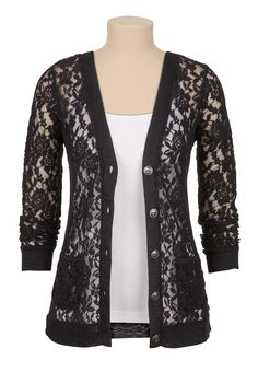 Textured floral lace cardigan