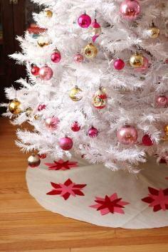 Felt poinsettias on neutral colored skirt-  Christmas Tree Skirt - Bead&Cord