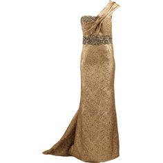 Marchesa Metallic One Shoulder Gown ($7,450) ❤ liked on Polyvore featuring dresses, gowns, long dresses, iltapuvut, one long sleeve dress, marchesa evening dresses, slimming dresses and one shoulder long dress