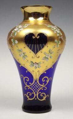 """10"""" Tall Bohemian Murano Cobalt Blue Gold Gilded Raised Enamelled Glass Vase"""