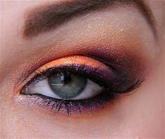 Explosion with Acid color mix, orang, eye makeup, clemson, eyeshadow, eye colors, halloween makeup, halloween eyes, avatar