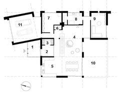 Rzut parteru: 1. hol wejściowy - 12,5 m2, 2. hol - 3,5 m2, 3. garderoba - 4,00 m2, 4. salon - 43 m2, 5. kuchnia z jadalnią - 44,00 m2, 6. w.c. - 2,0 m2, 7. pralnia/kotłownia - 23 m2, 8. łazienka - 11 m2, 9. pokój gościnny - 24 m2, 10. taras - 76,00 m2, 11. garaż - 46,00 m2 Organic Modern, Architecture, House Plans, Floor Plans, How To Plan, Studios, Design Ideas, Houses, Floor