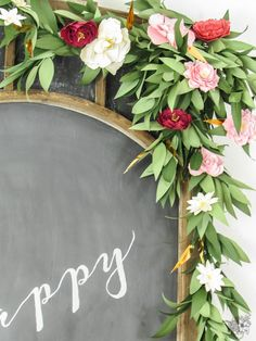Birthday Paper Floral Garland, Feminine Brithday Party Ideas, Adult Birthday Party - Pocketful of Posies Paper Flower Garlands, Paper Flowers Diy, Diy Paper, Floral Garland, Paper Crafts, Greenery Garland, Birthday Party Decorations For Adults, Parties Decorations, Paper Decorations
