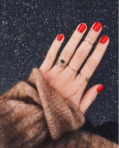 $37 Bluefly Forever 21 Simple Cool Casual Stacked Rings Gold Crystal Detail Knuckle Ring Braided Gold Chain Ring Bright Red Nail Polish Summer Nail Trends Tumblr