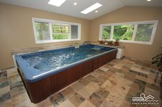 This Endless Pools Swim Spa was installed indoors for comfortable year-round use, no matter the weather.