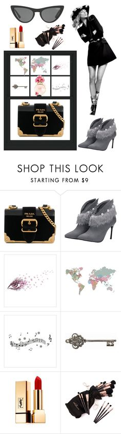 """""""PRADA"""" by magic-mia ❤ liked on Polyvore featuring Prada, Wall Pops!, Graham & Brown, Victoria, Victoria Beckham, Yves Saint Laurent, dreambig, Glamour, powerwoman, mindfulness and everydaywithstyle"""
