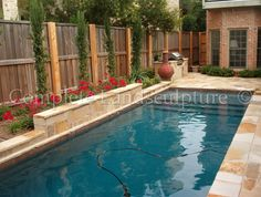 Narrow formal pool for a small yard Pools For Small Yards, Backyard Ideas For Small Yards, Backyard Pool Designs, Small Backyard Landscaping, Swimming Pool Designs, Swimming Pools, Lap Pools, Small Pool Ideas, Pool Backyard