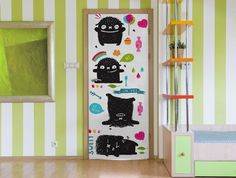 Cute Monster Door Mural Textured Walls, Removable Wallpaper, Door Murals, Painted Doors, Mural, Vinyl Doors, Wall Covering, Metallic Paint, Monster Door