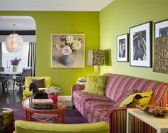 This room is split-complementary because of the yellow-greens, reds, and purples in it.