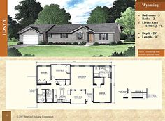 """Modular Ranch Floor Plan - Wyoming 1590 sq. ft. - Stratford Home Center - 3 Bed 2 Bath. Recessed entry, 12"""" bump-out at dining room and bedroom #2, dining room accent wall, service sink with cabinet, master bedroom bath with 48"""" shower, two bath lavs, and corner platform tub with marble surround. Modular Floor Plans, House Floor Plans, Stratford Homes, Modular Homes, Wyoming, Bump, Living Area, Ranch, Master Bedroom"""