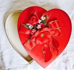 Valentine Box Red Heart Vintage Valentines Day by vintagedottirose