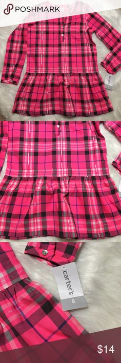 """Carter's Girls Pink Plaid Tunic Top Sz 8 Peplum Carter's Girls Pink Plaid Tunic Top Sz 8 Peplum style hem. 14"""" underarm to underarm, 14"""" Sleeve length, 22"""" long, 4 1/2"""" Sleeve width. No stretch to material. Was part of 2 piece set but didn't fit my daughter. Tags still attached. Cute metallic thread throughout buttons at neckline. Carter's Shirts & Tops Blouses"""