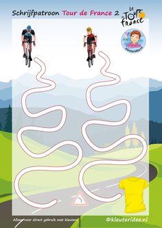 Tweede van de vijf schrijfpatronen in opklimmende moeilijkheid, Tour de France 2, voor kleuters, kleuteridee, Writing pattern free printable.