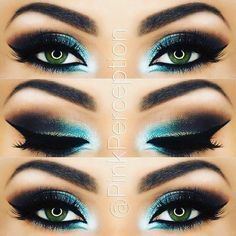 Owners of dark green eyes will be fascinated by make-up ideas that enhance and complement your beautiful eye color. A variety of eyeshadows and eyeliner awaits you for your exploration. Black Eye Makeup, Smokey Eye Makeup, Eyeshadow Makeup, Eyeshadows, Turquoise Eye Makeup, Eyeshadow Palette, Gel Eyeliner, Smoky Eye, Gray Eyeshadow