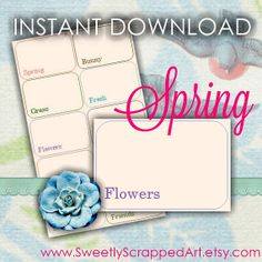 Springtime Flash Cards Instant Download DIY by SweetlyScrappedArt, $0.75