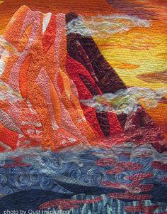 "~""When the Sunset Crowns Mt. Fuji in my Fascinating Dream"", 79 x 67"", by Mihoko Tanaka (Miyazaka-Ken, Japan) Quilt Inspiration"