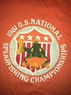 Vintage 1981 U.S. National Spearfishing Championship T Shirt M Rainbow Shirt Sho #RainbowShirtShop #GraphicTee