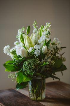 White Mason Jar Floral Arrangement