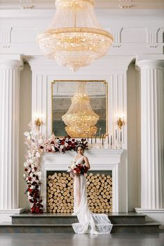 A Small Wedding Ceremony Doesn't Have to Skip Drama with Crystal Chandeliers and a Modern Flower Garland in Blush and Burgundy Wedding Vendors, Wedding Ceremony, Gracie Wallpaper, Glamorous Wedding, Wedding Dress Styles, Simple Weddings, Crystal Chandeliers, Modern, Garland