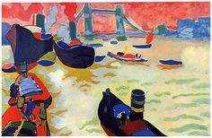The Thames - André Derain was born on June 1880 in Chatou, France. He developed his early style in association with his friends Maurice de Vlaminck and Henri Matisse; the three were the principal exponents of Fauvism. Henri Matisse, André Derain, Paul Cezanne, Kandinsky, Modern Artists, French Artists, Fauvism Art, Maurice De Vlaminck, Art Français