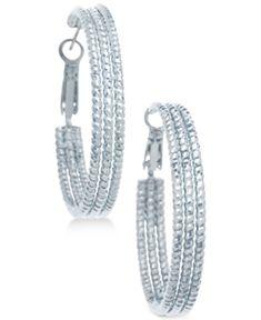 Guess Textured Hoop Earrings - Silver