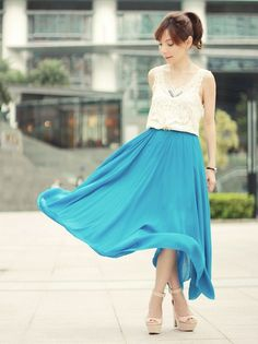 Sheinside Leaves Lace Top, Choies Blue Maxi Skirt, Zara Nude Wedges