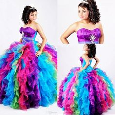 2015 Ball Gown Rainbow Quinceanera Dresses Puffy Organza Bling Crystal Sequins Sweet 16 Gown Pageant Dress Princess Corset Prom Dresses Quinceanera Dresses In El Paso Quinceanera Dresses On Sale From Beautypalace, $129.45| Dhgate.Com